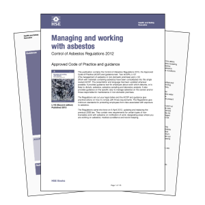 HSE guide to managing and working with asbestos
